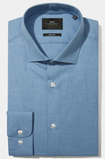 Moss London Skinny Fit Blue Single Cuff Twill Shirt