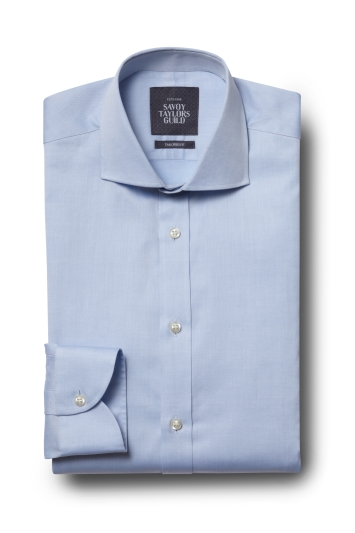 Savoy Taylors Guild Tailored Fit Sky Single Cuff Fine Twill Shirt