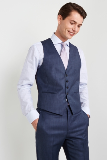 HUGO by Hugo Boss Mid Blue Semi Plain Blend Waistcoat