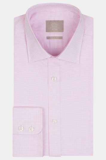 Savoy Taylors Guild Regular Fit Pink Single Cuff Puppytooth Shirt