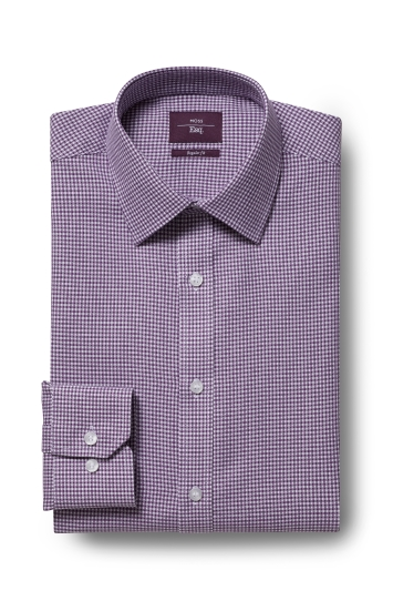 Moss Esq. Regular Fit Purple Single Cuff Dobby Non Iron Shirt