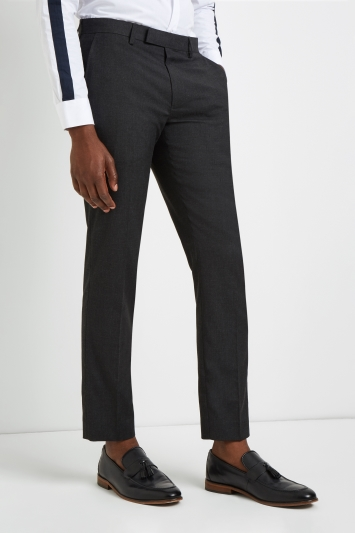 Moss London Skinny Fit Machine Washable Charcoal Plain Trousers with Stretch