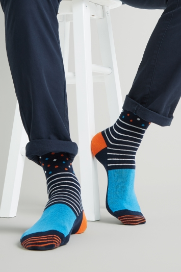 Moss London Navy with Spots & Stripes Socks