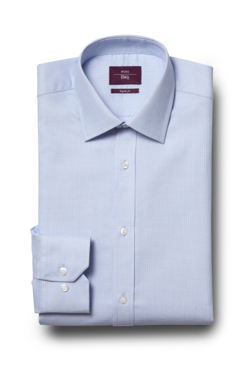 Moss Esq. Regular Fit Sky Single Cuff Dobby Non Iron Shirt