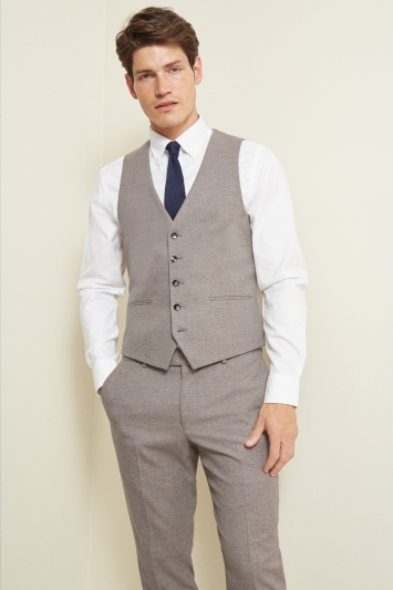 Moss London Slim Fit Neutral Lightweight Waistcoat
