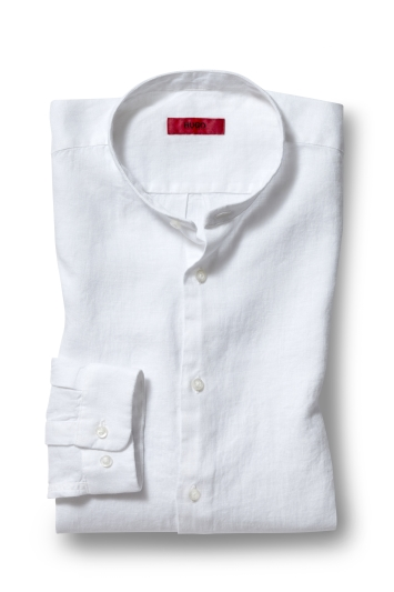 HUGO by Hugo Boss Tailored Fit Linen Grandad Collar