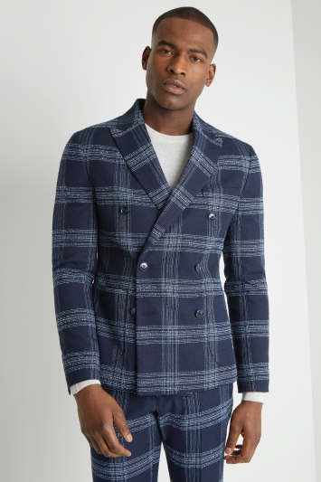Moss London Slim Fit Blue Boucle Unstructured Double Breasted Jacket