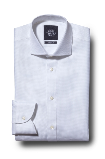Savoy Taylors Guild Tailored Fit White Single Cuff Shirt
