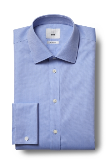 Moss 1851 Tailored Fit Sky Double Cuff Textured Zero Iron Shirt