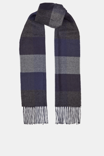 Moss 1851 Navy & Grey Block Check Scarf