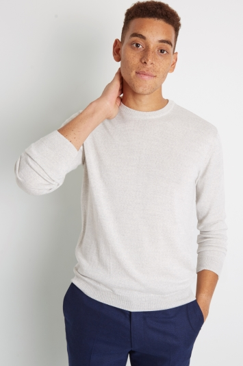 Moss London Silver Crew-Neck Jumper