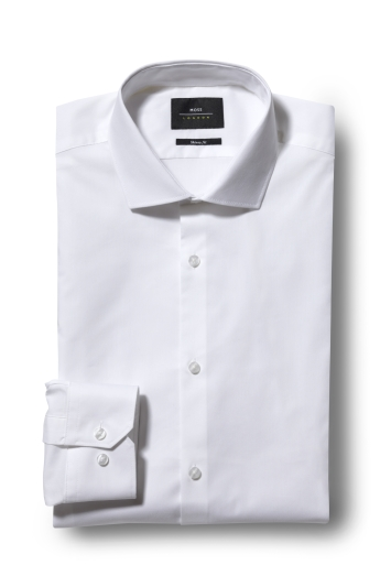 Moss London Skinny Fit White Single Cuff Stretch Shirt