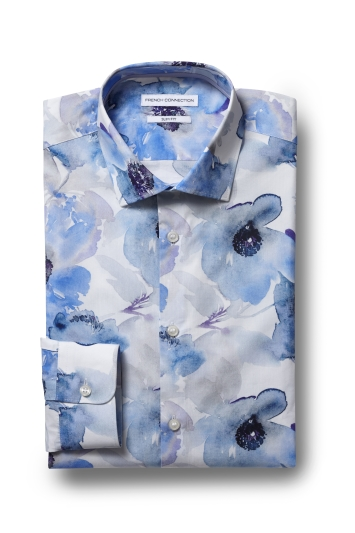 French Connection Slim Fit Blue Single Cuff Floral Shirt