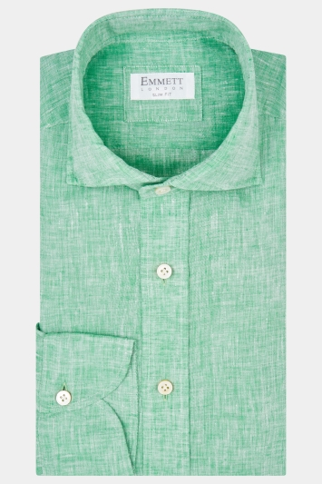 Emmett Slim Fit Green Single Cuff Linen Shirt
