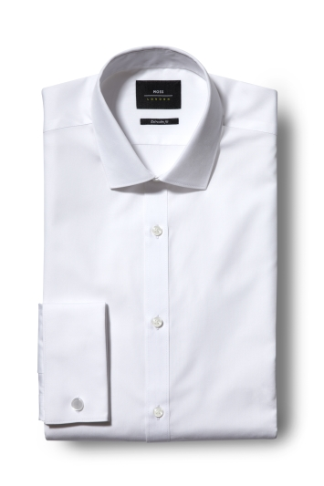 5b7903c6b4a Moss London Extra Slim Fit White Double Cuff Shirt