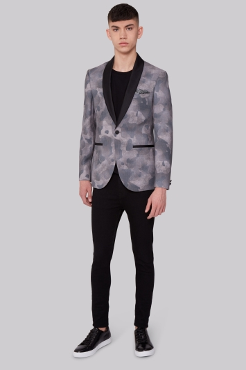 Moss London Skinny Fit Camouflage Dress Jacket