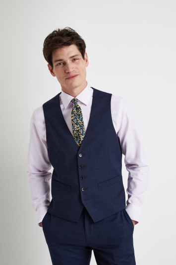 Moss London Tailored Fit Blue Check Waistcoat