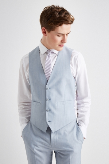 French Connection Powder Blue Marl Slim Fit Waistcoat