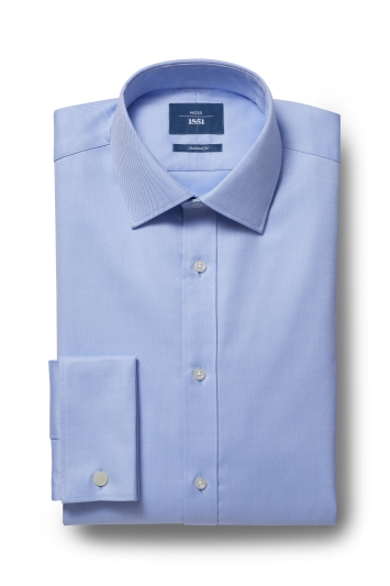 Moss 1851 Tailored Fit Sky Double Cuff Twill Shirt
