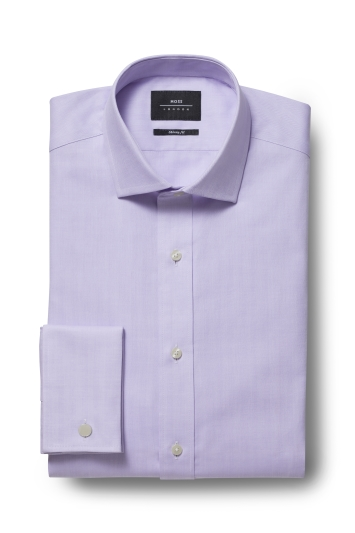Moss London Premium Skinny Fit Lilac Double Cuff Herringbone Shirt
