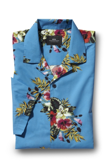 Moss London Skinny Fit Blue Short Sleeve Tropical Print Shirt