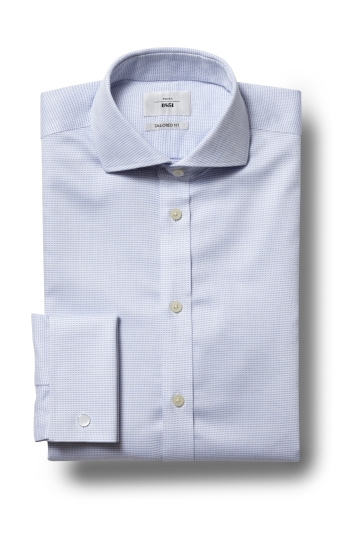 Moss 1851 Tailored Fit Sky Double Cuff Dobby Spot Zero Iron Shirt