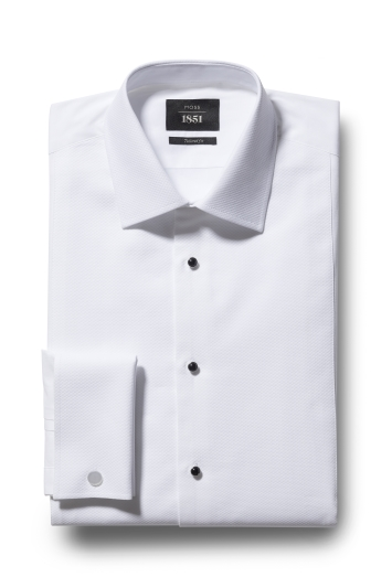 Moss 1851 Tailored Fit White Marcella Regular Collar Dress Shirt