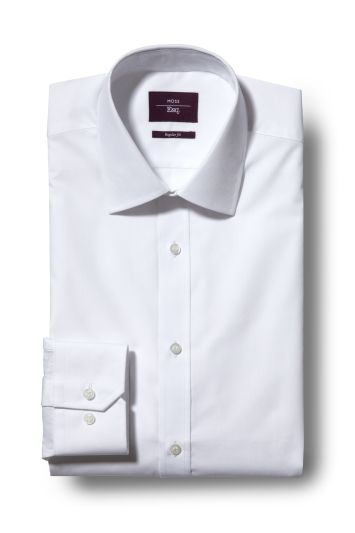 Moss Esq. Regular Fit White Single Cuff Easy Iron Shirt