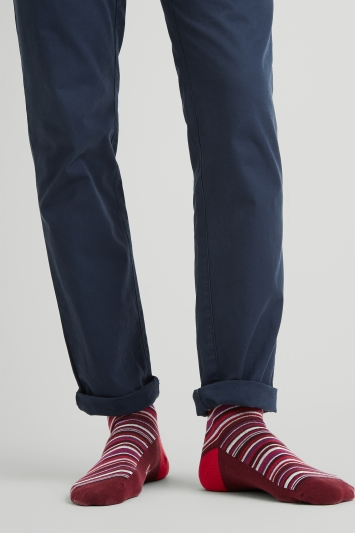 Moss London Wine Multi-Fine Stripe Socks