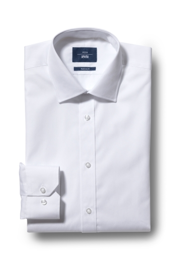 Moss 1851 Tailored Fit White Single Cuff Shirt