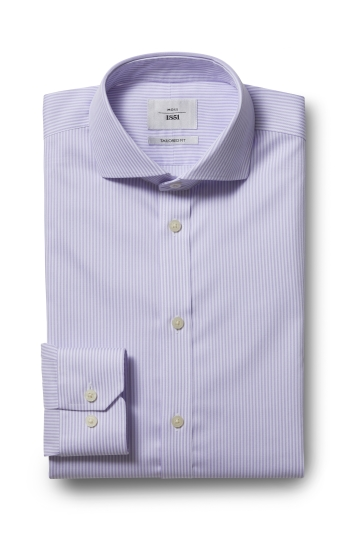 Moss 1851 Tailored Fit Lilac Single Cuff Bengal Stripe Zero Iron Shirt