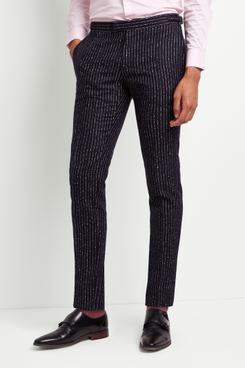 Moss London Premium Skinny Fit Ink Boucle Stripe Trousers