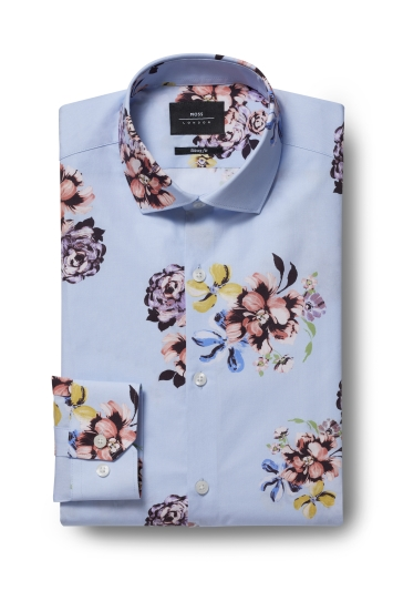 Moss London Skinny Fit Sky Single Cuff Floral Shirt