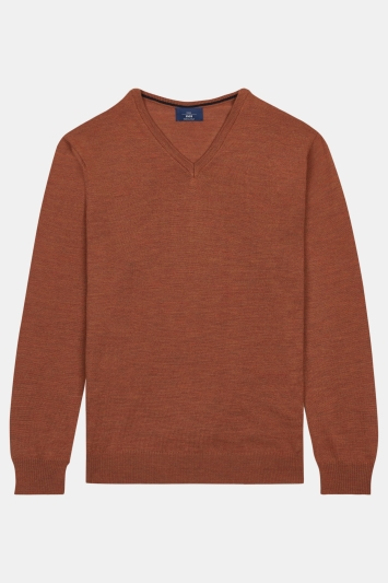 Moss 1851 Orange Merino V-Neck Jumper