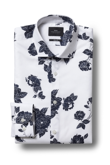 Moss London Skinny Fit Navy Single Cuff Rose Print Shirt