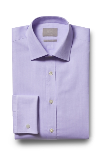 Savoy Taylors Guild Regular Fit Lilac Double Cuff Herringbone Shirt