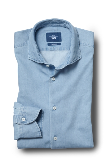 Moss 1851 Tailored Fit Blue Single Cuff Denim Shirt
