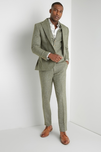 Moss London Regular Fit Sage Herringbone Tweed Jacket