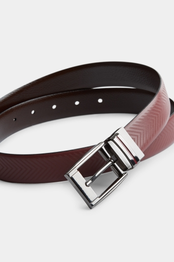 Ted Baker Hammok Chocolate Herringbone Reversible Belt