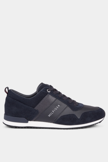 Tommy Hilfiger Black Iconic Suede Mix Runner Trainer