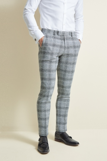 Moss London Slim Fit Black and White Check Trousers