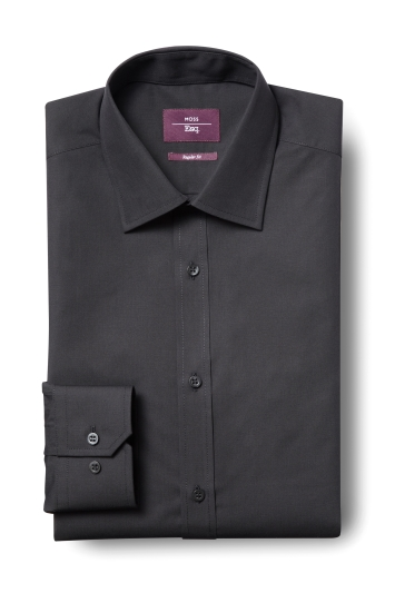 Moss Esq. Regular Fit Black Single Cuff Non Iron Shirt
