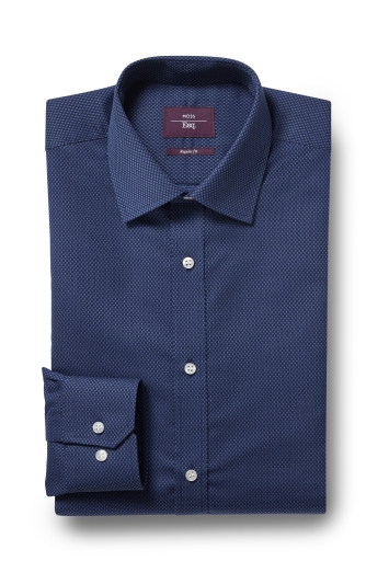 Moss London Skinny Fit Navy Single Cuff Stripe Collar Shirt Size 16.5 Rrp£32.50 Shirts & Tops