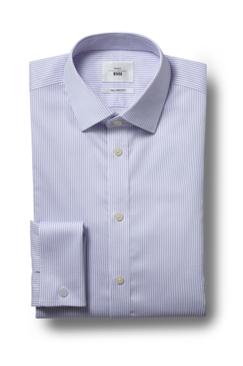 Moss 1851 Tailored Fit Lilac Double Cuff Bengal Stripe Zero Iron Shirt