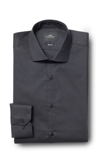 Moss London Skinny Fit Black Single Cuff Stretch Shirt