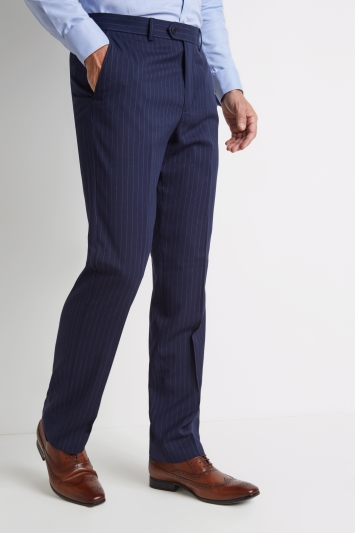 Moss Esq. Regular Fit Navy Stripe Trousers