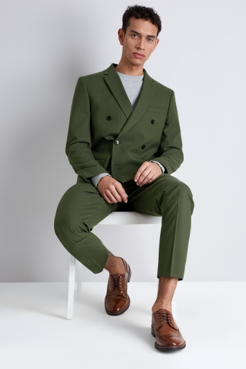 Moss London Skinny Fit Khaki Double Breasted Jacket
