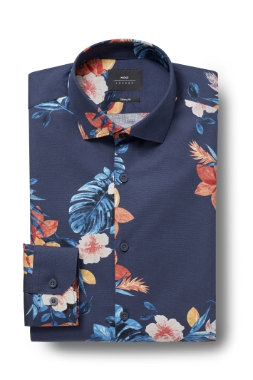 Moss London Skinny Fit Navy Single Cuff Tropical Print Shirt
