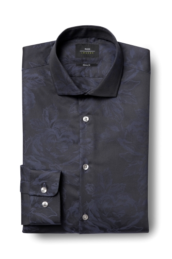 Moss London Skinny Fit Navy Single Cuff Rose Jacquard Shirt