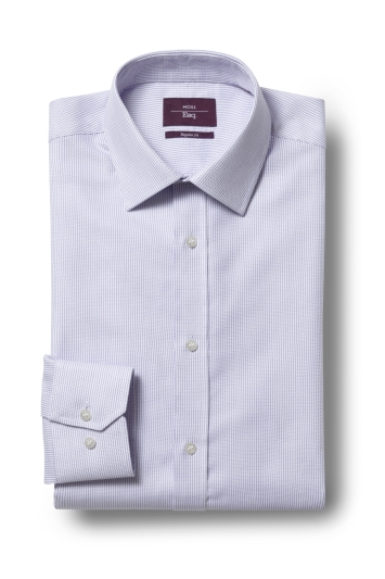 Moss Esq. Regular Fit Lilac Single Cuff Dobby Non Iron Shirt